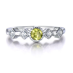 Natural Peridot Rings For Women 925 Sterling Silve